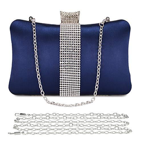 UBORSE Bolso de Fiesta Carteras de Mano Diamantes Bolsas de Embrague del Satén Bolsa de Noche para Mujer Monedero para para Boda Fiesta Baile Ceremonia Fiesta de Coctel (Azul)