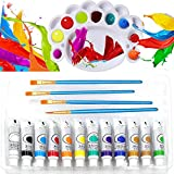 Veczom Acrylic Paint 12 Colors 12ml Acrylic Painting with 4pcs Nylon Hair Brushes 1pc Paint Plates for Artist Professional Kit Rock Canvas Ceramic Wood Beginners Students Kids Christmas (17 Paint Set)