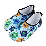 OldPAPA - Calcetines de Agua para niños y niñas, Calcetines Descalzos Antideslizantes de Secado rápido para niños pequeños para Piscina en la Playa, Dinosaurio B, Talla 32-33