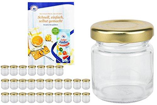 MamboCat Lot de 28 verres ronds TO 43 avec couvercle à vis couleur dorée, 53ml, incl. livret de recettes magiques (français non garanti), bocaux, conserves, mini pots en verres
