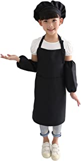 Kids Chef Hat Apron Oversleeve Set, Children's Kitchen, Cooking and Baking Wear Kit for Chefs In Training, for Drawing at Art Gallery and Kindergarten, Adjustable Child's Size, Anti-dirt, Anti-static