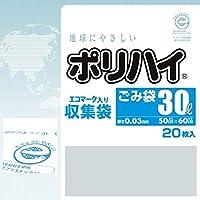 【ケース販売】 ポリハイエコマークロゴ入りごみ袋 30L 0.03 透明 (LE-30N) 20枚入×30冊