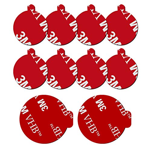 10 Pack 3M Sticky Adhesive Replacement Compatible with Socket Mount Base, VOLPORT VHB Sticker Pads for Car Magnetic Phone Holder and 2pcs Double Sided Tape for Collapsible Grip & Stand