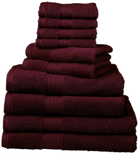 Divatex Home Fashions 540 GSM 12-Piece Deluxe Complete Towel Sets, Cranberry