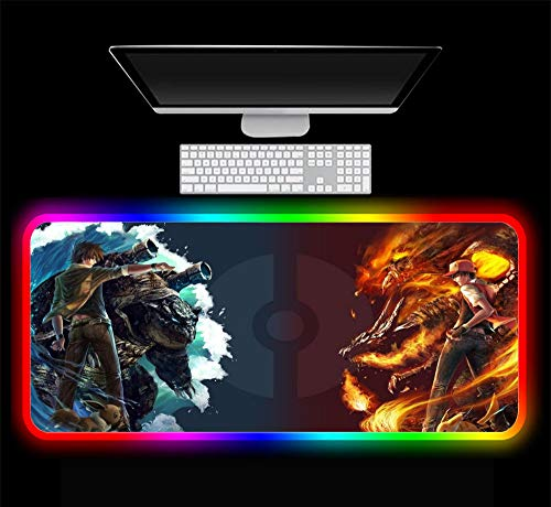 Mouse Pads Pokemon Red and Blue Gaming Mouse Pad Computer RGB Large Gamer PC Desk Play Mat with Backlit 27.55x15.74x0.15 inch