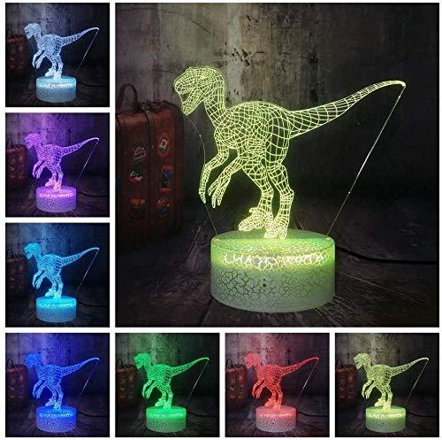 Tatapai Luz nocturna 3D Ilusión Led Lámparas de Decoración Lámpara para Niños 3D LED Niños Luz Noche Dinosaurio Velociraptor RGB Lámpara de Mesa Multicolor Cambiante Decoración del Hogar Niño Juguete