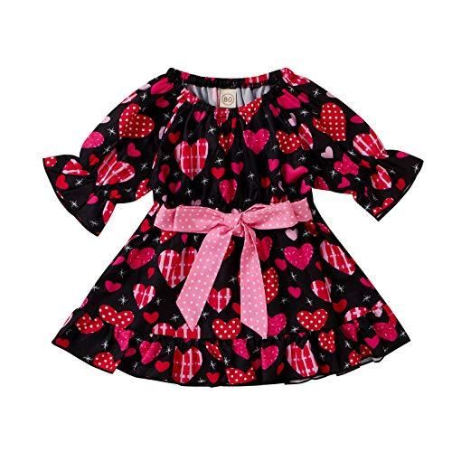 Keepwin Vestidos de Princesa con Volantes y Estampado de Corazones San Valentín Vestido para Niñas Ropa Bebé Recién Nacido Niña (Multicolor, 6-12 Meses)