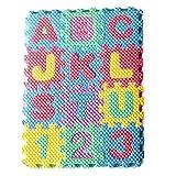 Brawdress Mini Schaumstoff Puzzle Spielzeug, Kinder Schaumstoff Puzzle Set von 36 Mini Alphabet & Zahlen Puzzle Fliesen Matte Pädagogisches Lernspielzeug für Kleinkinder Baby