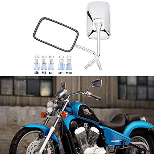 Retrovisor moto Espejos laterales de motocicleta M10 M8 con paquete de tornillos, espejos retrovisores de motocicleta rectangulares cromados para Bobber ATV Street Bike Cruiser Chopper