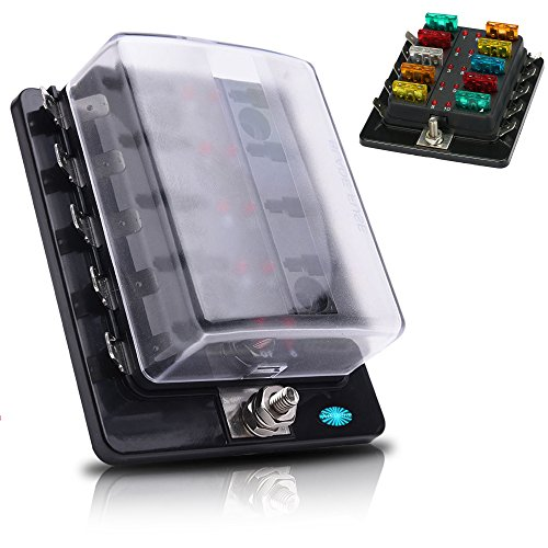 10-Way Standard Blade Fuse Box Holder, 10 Way Terminals Circuit Car/Boat/Bus/Van Fuse Box Holder with LED Warning Light Indicator for Blown Fuse