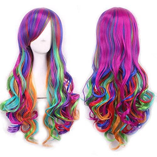 Colorfullpanda Larga rizada Rainbow Wig Peluca de Color múltiple para Mujer Niños Chicas Cosplay Party Traje Pelucas sintéticas Resistentes al Calor BJY969 (Color : Pink)