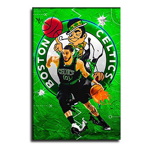 GDFG Boston Celtics Professional Basketball Player Jayson Tatum Poster Canvas Art Poster and Wall Art Picture Print Modern Family Bedroom Decor Posters 12×18inch(30×45cm)