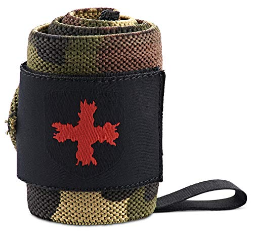 Harbinger Red Line 18-Inch Weightlifting Wrist Wraps for Men and Women (Pair), Camo