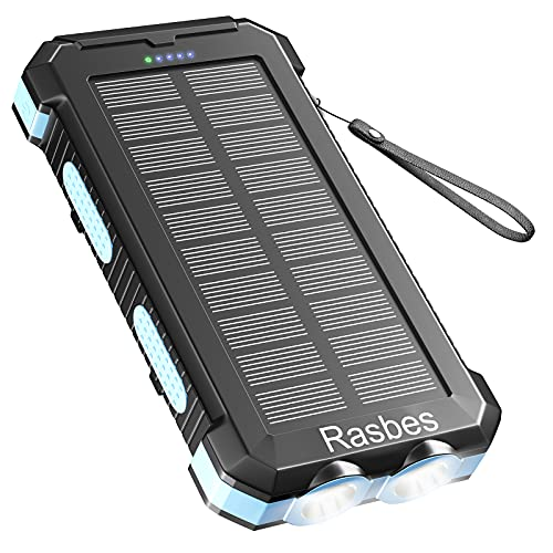 Solar Charger 30000mAh Solar Power Bank for Outdoor Camping, Solar Phone Charger for Emergency, Equipped with Dual 5V / 2.1A USB Outputs & Flashlight, IPX4 Waterproof, Shockproof for Outdoor Feature