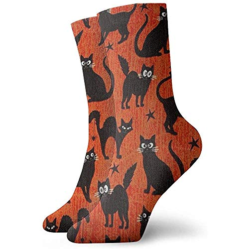 Tammy Jear Fangtastic Glow In The Dark Black Cats Orange Chaussettes Hommes 's Femmes' Athletic Soccer Dress Chaussettes Soft Crew Socks