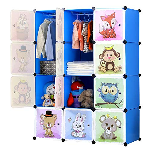BRIAN & DANY Portable Cartoon Clothes Closet Wardrobe DIY Modular Storage Organizer, Sturdy and Safe for Children, 8 Cubes & 2 Hanging Sections, Blue, 110 x 47 x 147 cm