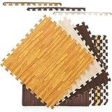 Fitgenics Puzzlematten Bodenschutz Matten 20er Set Schutzmatten Unterlegmatten für Pool Fitnessgeräte Fitness Matte Trainingsmatten wasserdichte Anti-rutsch Bodenauflagen Gymnastikmatten (Holz-Hell)