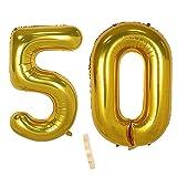 2 globos numeros 50 años, Number globo número 50 Dorado para Hombres Mujeres niños,40' Figuras Gold globo de lámina de helio inflable, gigante grande decoración fiesta de cumpleaños boda (xxxl 100cm)