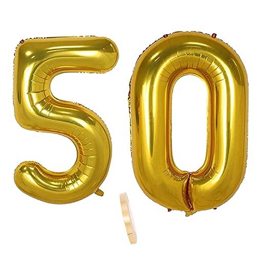 2 globos numeros 50 años, Number globo número 50 Dorado para Hombres...