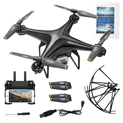 HLKYB Predator Mini Drone, 90 ° Gran Angular 720P HD Mejor Drone para niños y Principiantes Modo sin Cabeza una tecla Off/Landing App Control de Tiempo de Vuelo Largo,Black