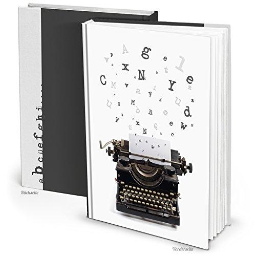 XXL Cuaderno Blanco y Negro en Blanco Libro selbgestalten DIN A4libro vintage Nostalgie Máquina de escribir con 164vaciado páginas blancas Dura de gran calidad gebunden. Diario propia Historia