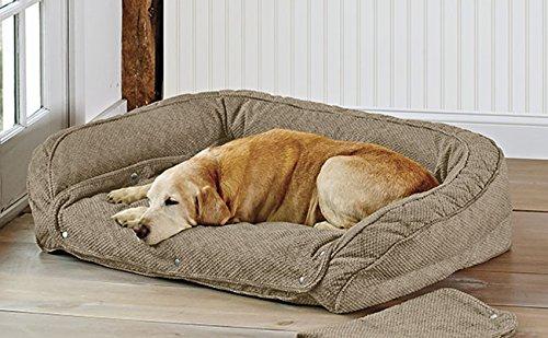 Orvis Memory Foam Bolster Dog Bed with Snap-Off Pads / Medium Dogs 40-60 Lbs., Brown Tweed, Medium