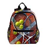 Sac a Dos Enfants Raquette de Tennis Personnalité Sac d'école pour Tout-Petits, Porte-Sac pour Enfant de 3 à 8 Ans 25.4x10x30cm