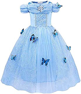 Gauze Tutu Summer Sweet Princess Dress Cinderella Costume Dress Princess Girls Birthday Party Cosplay Outfit,Age:7-8 Years