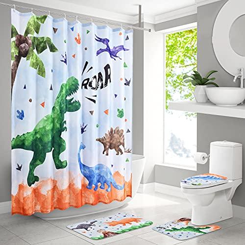 4 Stück Dinosaurier Duschvorhang Sets mit Rutschfesten Teppichen für Kinder Jungen Badezimmer- Badematten WC Vorleger Wasserdichter Duschvorhang aus Polyester mit 12 Haken