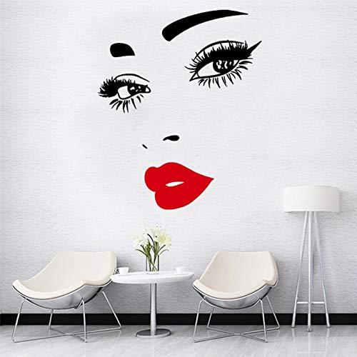 ayingzhenxiao Salón de Belleza Etiqueta de la Pared Labios Rojos Peluquería Maquillaje Etiqueta Peinado Barbero Calcomanía SizeXL 12