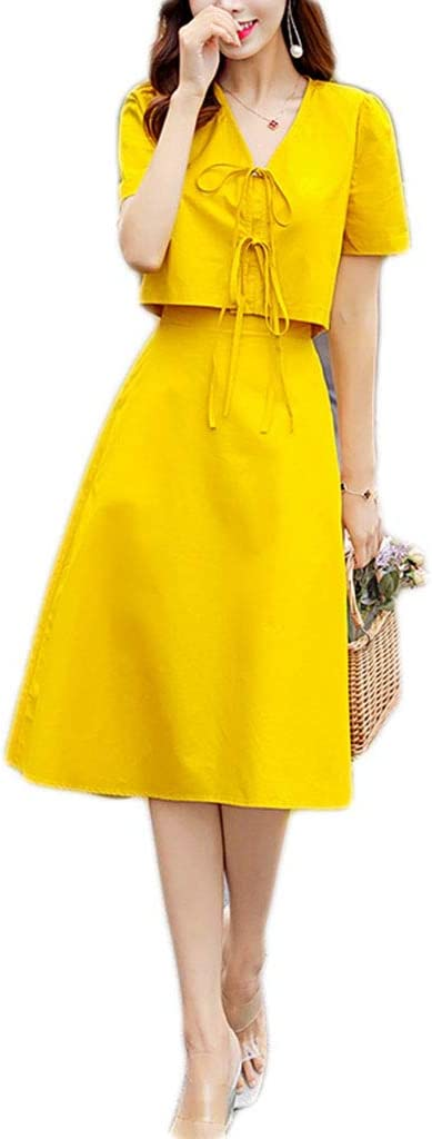Dongjiguang Dress Platycodon Skirt Two-Piece Suit Waist 2 Colors 4 Sizes (Color : B, Size : L)