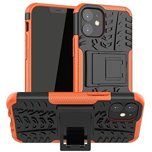 Fulvit para Textura de neumáticos Funda Protectora TPU + PC con Soporte for iPhone 12 Mini Casos antiedad (Color : Orange)