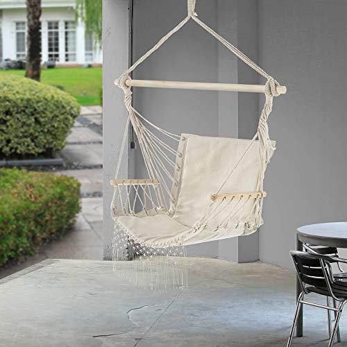 casa.pro Fauteuil Suspendu Chaise de Hamac à Franges Jusqu'à 150 kg avec Accoudoirs en Bois 120 x 100 x 65 cm Crème