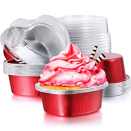 Aluminum Foil Cake Pan Heart Shaped Cupcake Cup with Lids 100 ml/ 3.4 Ounces Disposable Mini Cupcake Cup Flan Baking Cups for Valentine Mother's Day Wedding Christmas Birthday (Red,20 Sets)
