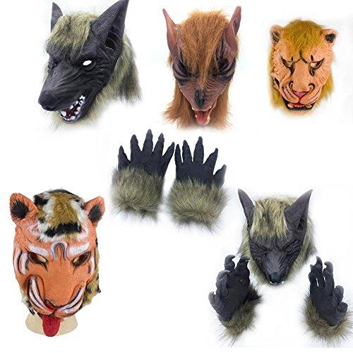 Dieren Masker Hoofddeksels Grappige Halloween Partij Cosplay Hoofddekselmasker, Leeuw Tijger Wolf en Wolf Handschoenen Hoofd Gevormd Gezichtsmasker Fancy Jurk benodigdheden Tijger