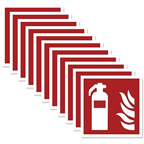 11 x Feuerlöscher Aufkleber (10x10 cm) - Selbstklebend - Alternative zum Feuerlöscher Schild - Brandschutzzeichen nach ISO - UV-Schutz für Innen und Außen - Geschlitzte Rückseite