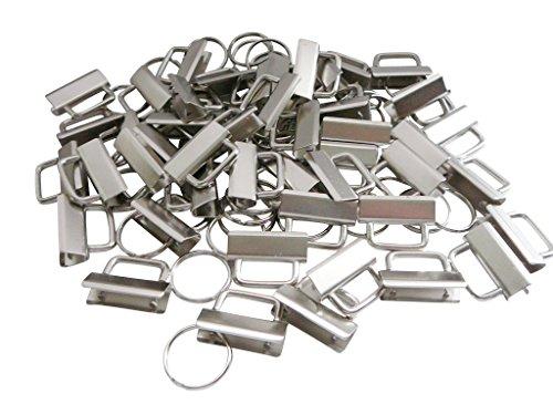 XieXie 33 Stück Schlüsselband Rohlinge Klemmschließeanhänger 3cm mit Schlüsselringen zur Herstellung von Schlüsselbändern DIY