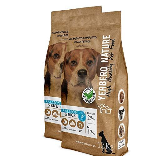 YERBERO Nature Salmon & Rice 2 uds de 12 kg de alimento sin Gluten Hipoalergenico para Perros con 17% de Ahorro.