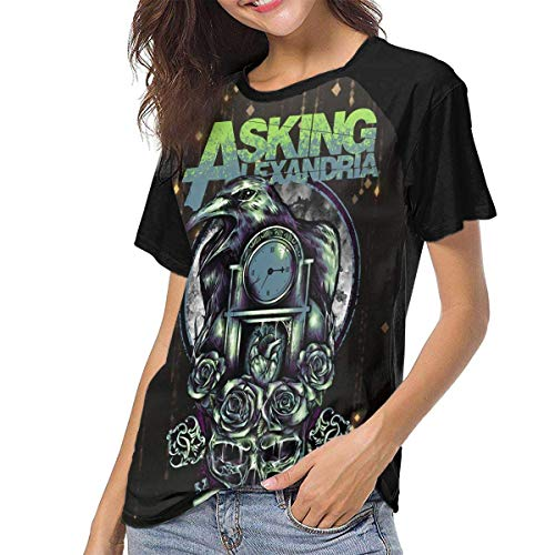 Asking Alexandria Women Frauen Baseball T Shirt Hemd Round Neck Tops Casual Shirt