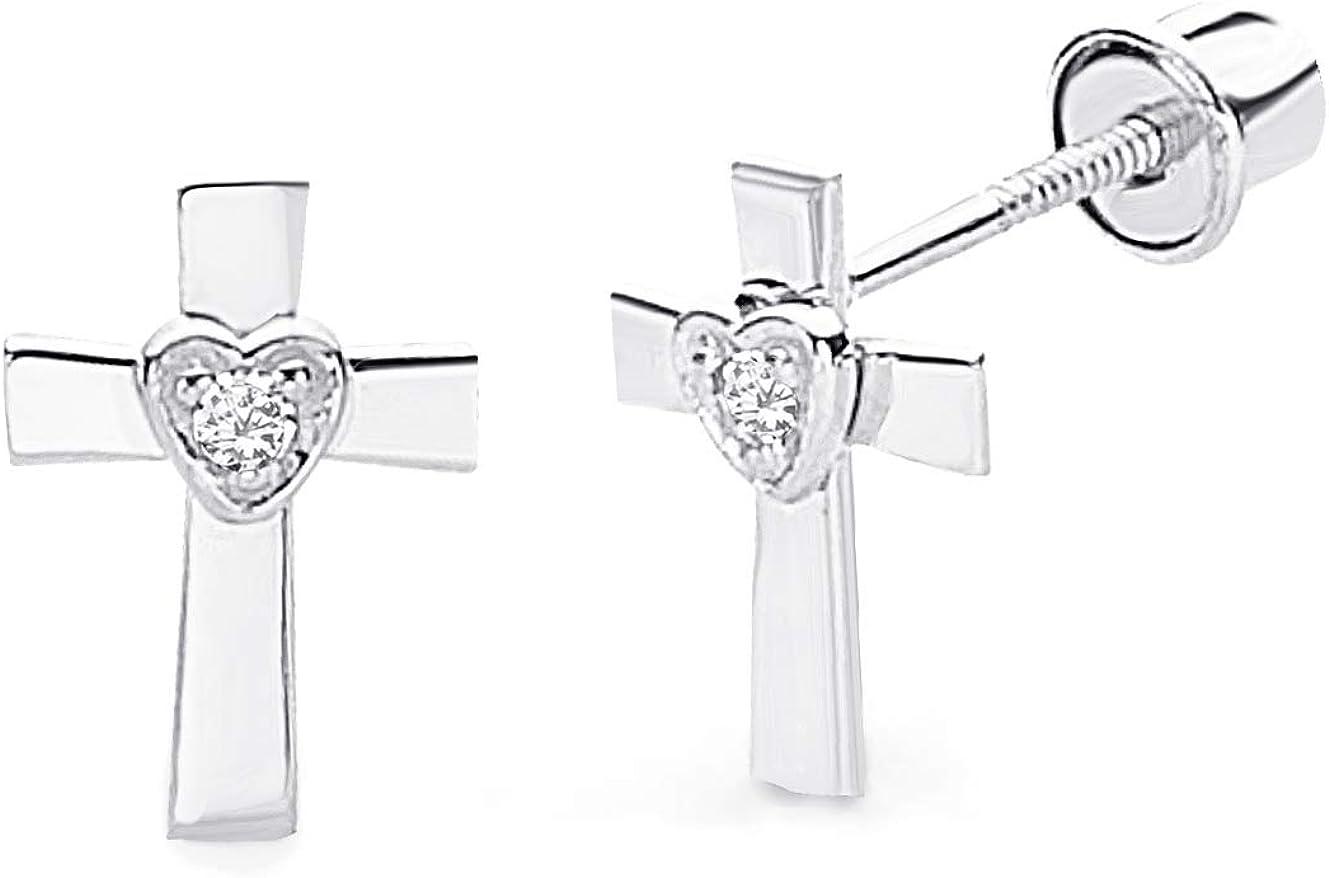 Wellingsale 14K White Gold Polished Cross Stud Earrings With Screw Back
