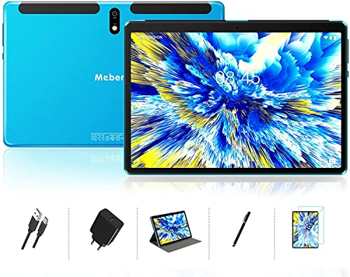 MEBERRY Tablet 10 Pulgadas HD IPS Ultra Rápido Android 10 Pro 8- núcleos 1.6Ghz Tableta 128GB Expandible -  Certificación Google GMS -  8000mAh | WI- FI | Bluetooth | GPS(5.0+8.0MP Cámara),  Azul