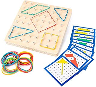 Wooden Mathematical Manipulative Material Array Block Board with 24Pcs Pattern Cards And Rubber Bands Shape Puzzle Matrix ...