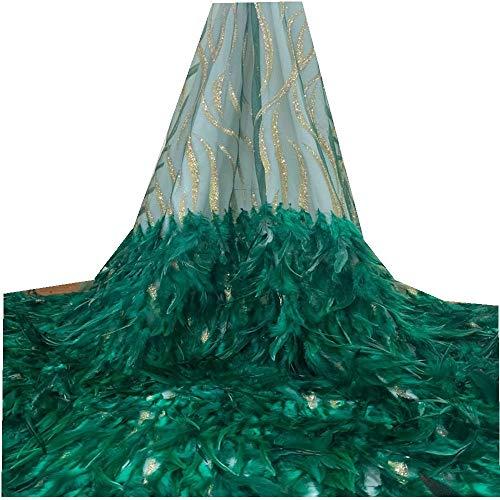 Unbekannt VILLIEA Aktuelles 3D-Spitze-Gewebe mit Straußenfeder, Aquamarin blauen Stickerei-Tulle-Spitze-Gewebe for Haute Couture Kleid, 3D-Spitze-Gewebe (Color : Green, Size : 5YARDS)