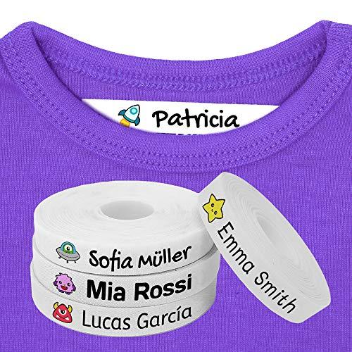 100 Etiquetas Personalizadas para ropa con Icono en Color a seleccionar. Tela Blanca. (Galaxia)