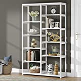 Tribesigns Bookshelf Bookcase, Industrial 10-Open Shelf Etagere Bookcase with Rustic Finish, Rustic Vintage Book Shelves Display Shelf Storage Organizer for Home Office (White)
