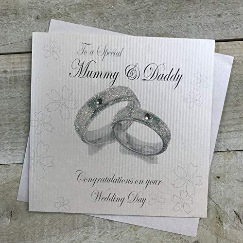 Witte katoenen kaarten naar een speciale mama & papa felicitaties dag, handgemaakte trouwkaart (Rings, Code PD165)