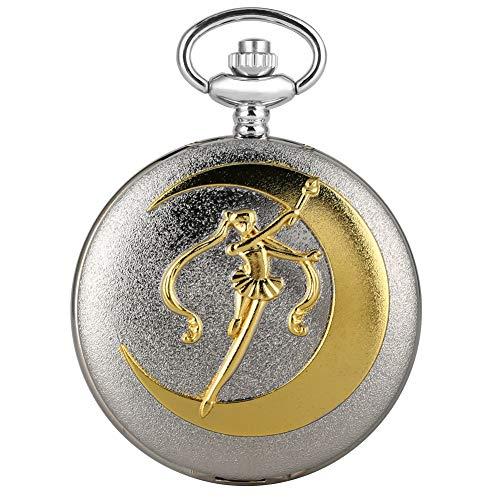 Reloj de Bolsillo de Cuarzo Plateado para Mujer, diseño de Marinero, Estilo Dorado, para Mujer, con Cadena de eslabones para niñas
