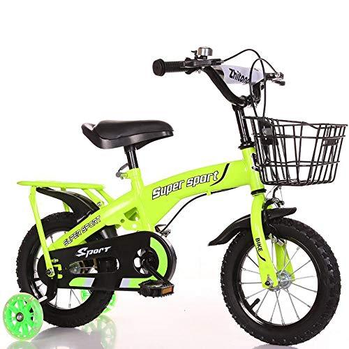 COCKE Kinderfahrrad,5-11 Jahre Altes Kinderfahrrad Mit Einziehbarer Scheibenbremse,14-18 Jahre Altes Fahrrad Mit Rücksitz,Junge,Mädchen,Grün,16inch