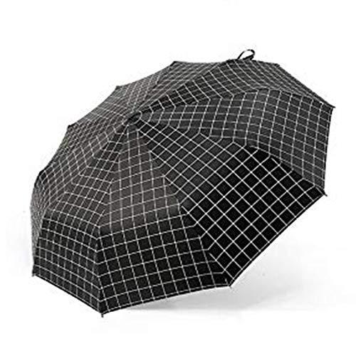 Volledige automatische drie vouwen paraplu zwarte lijm geruite paraplu, UV-blok bescherming, parasol lichtgewicht, versterkt 10 ribben frame Slip-proof plastic handvat voor mannen vrouwen