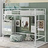 Bellemave Twin Loft Bed, Metal Loft Bed Frame, with Side Ladder and Safety Guardrail, Suitable Multifunctional Modern Loft Bed for Bedroom Dorm Space Saving Design (White-a)
